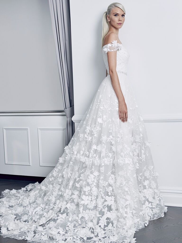 Romona Keveza Collection Fall 2018 wedding dress with allover embellishments and off-the-shoulder neckline
