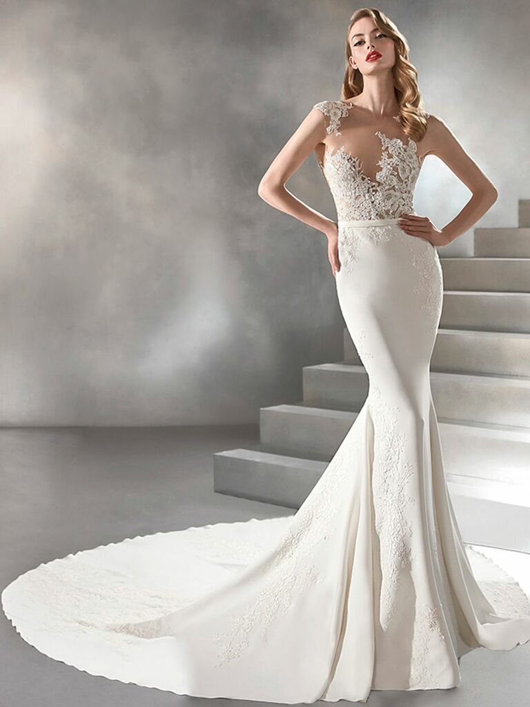 Atelier Provonias wedding dress trumpet fown with sheer lace bodice