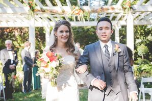 Couple in Traditional, Fall-Inspired Wedding