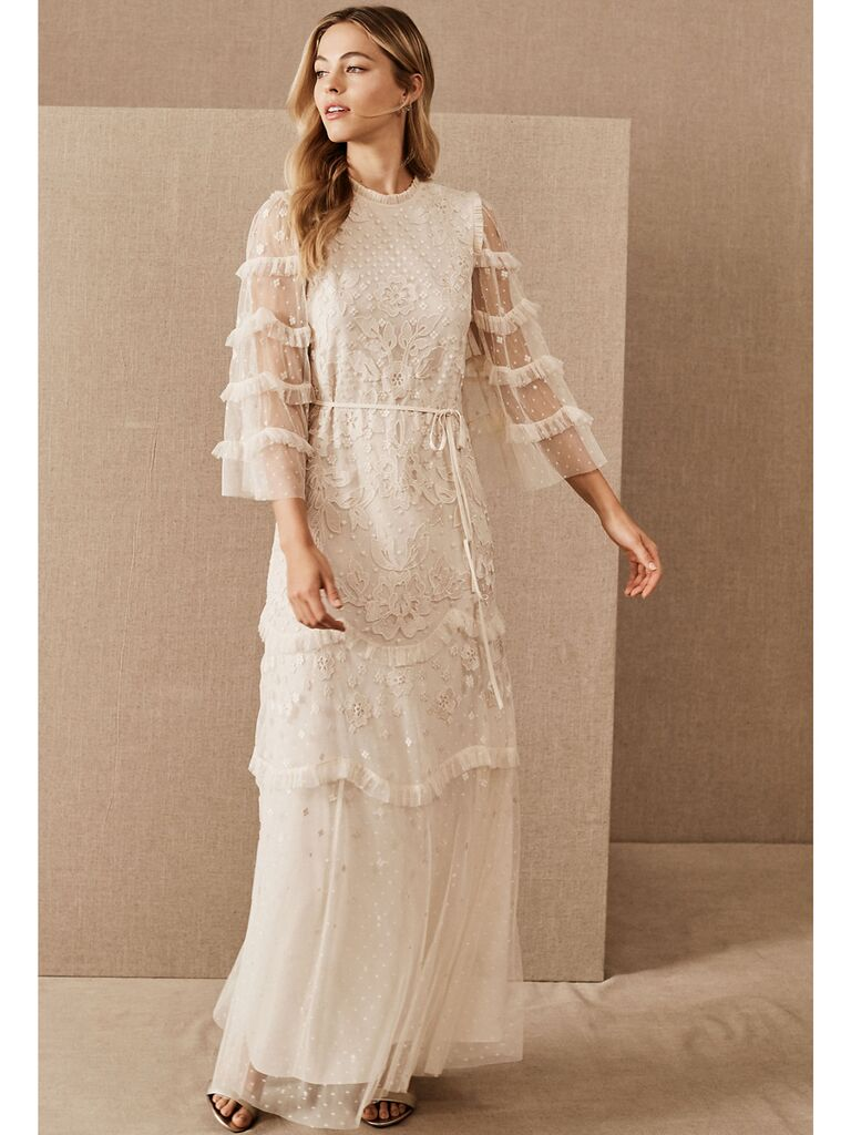 Boho beaded and lace maxi dress