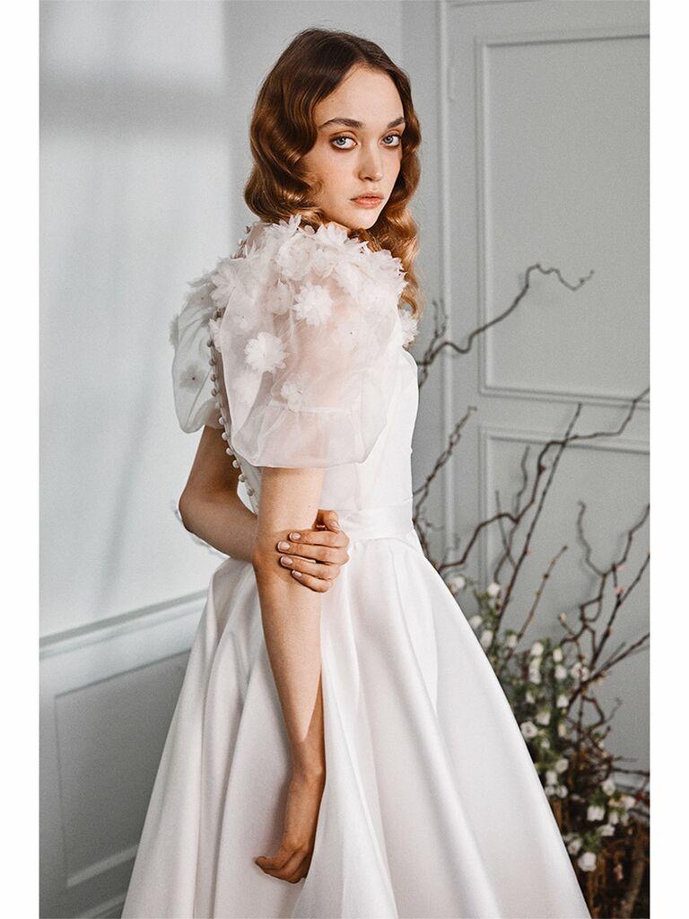 Halfpenny London wedding dress strapless corset top and full skirt