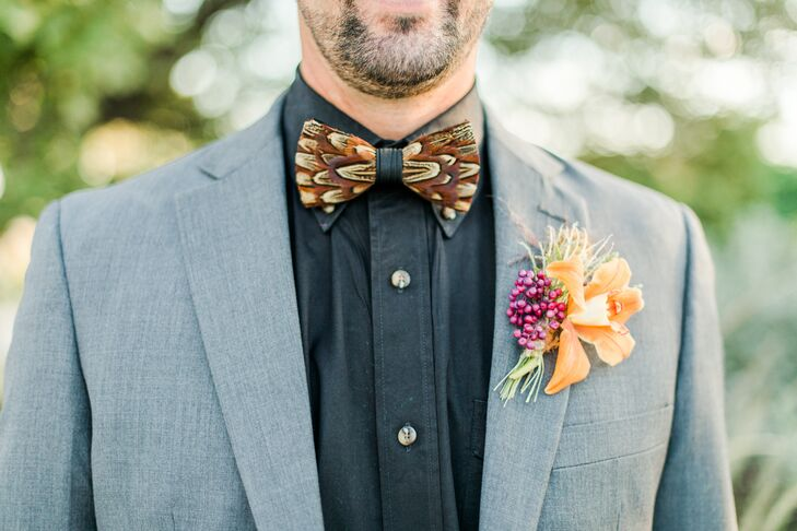 Pheasant Feather Bow Tie and Bright Orchid and Berry Boutonniere