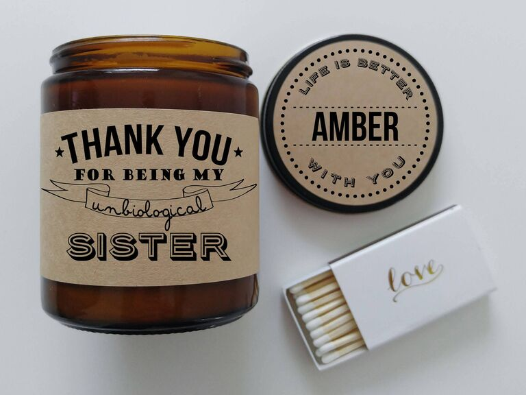 Thank You for Being My Unbiological Sister candle gift