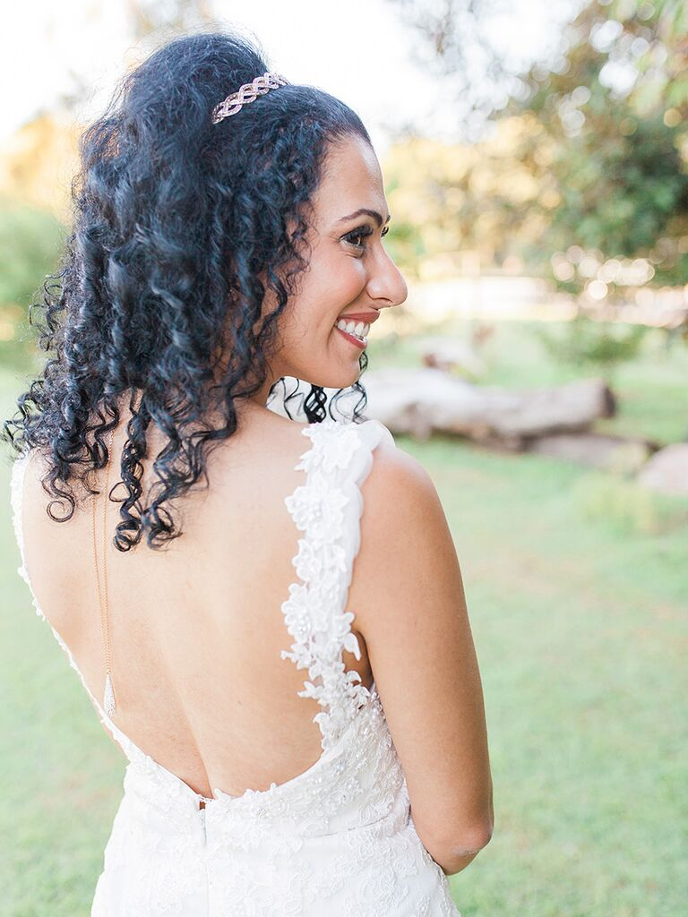 Naturally curly hair wedding hairstyle