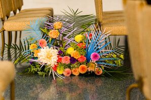Flower Aisle Decorations with Roses, Dahlias and Painted Palm Leaves