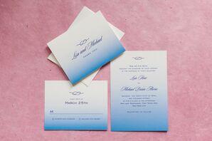 Ombre Blue Wedding Invitations