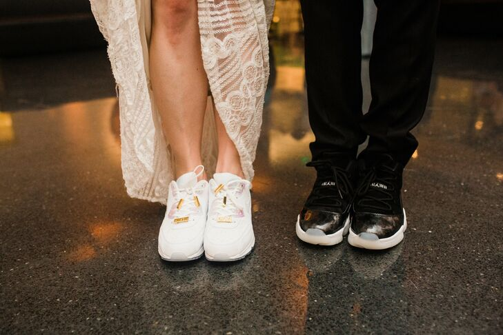 """After our first dance, I changed into a pair of gold and white Nike Air Max 90 laser-engraved with Chicago imagery—a nod to my five-year career at Nike and our home city,"" Hannah says. ""They were so comfortable, and I got compliments on the dance floor all night."""
