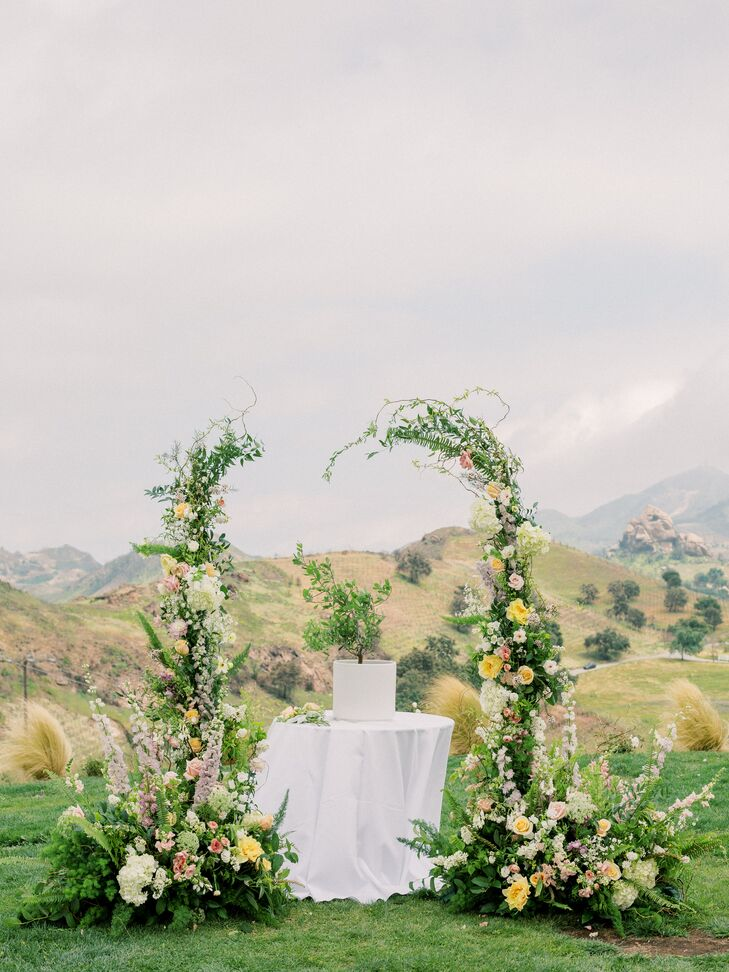 Romantic Asymmetrical Ceremony Arch in the Mountains