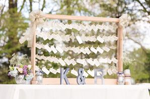 Rustic Escort Card Display With Clothespins