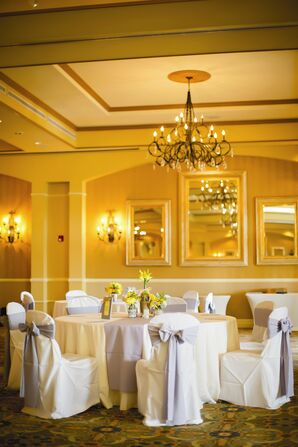 Gray and Yellow Reception Decor