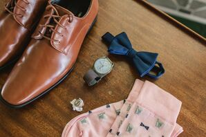 Men's Wedding Accessories with Bow Tie, Brown Shoes, Watch and Pink Socks