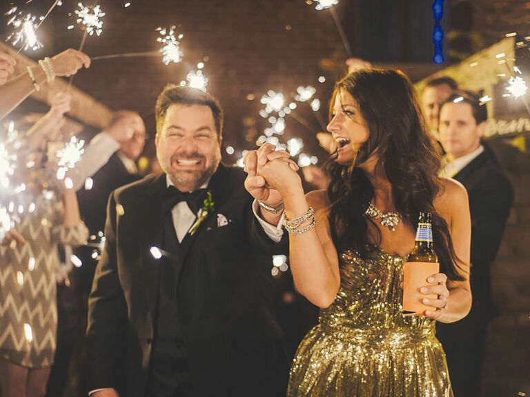 Newlywed couple's sparkler exit