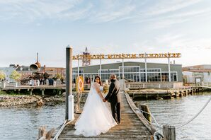 Bride and Groom on Pier at the Baltimore Museum of Industry in Baltimore, Maryland