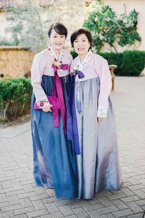 Wedding Guests in Korean Hanboks at the Oak Creek Golf Club in Irvine, California