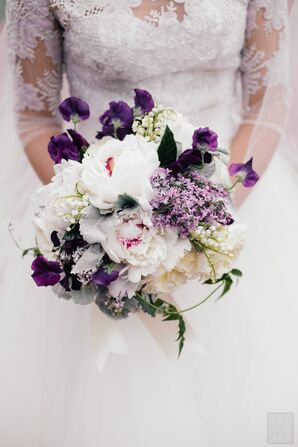 Spring Bouquet with Peonies, Violets and Lily of the Valley