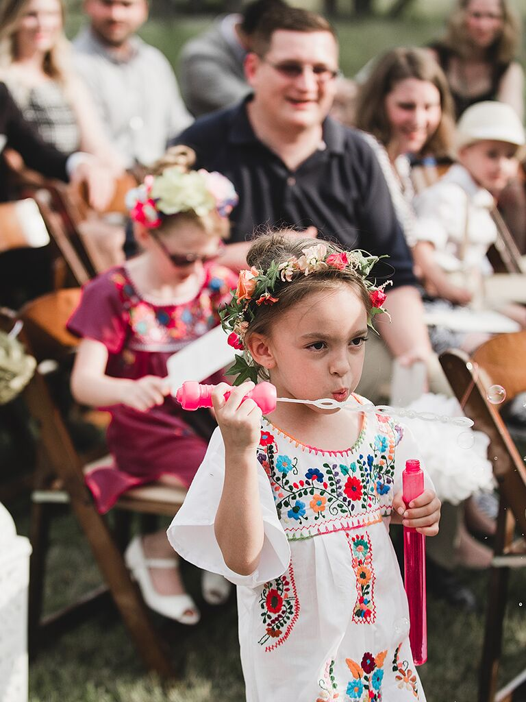Bubble Girl instead of a wedding ceremony Flower Girl