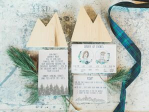 Plaid- and Evergreen-Inspired Rustic Wedding Invitations