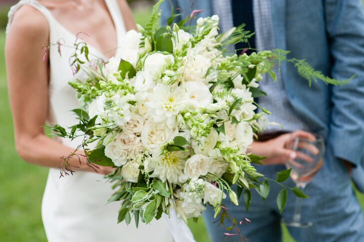 Classic Bouquet with White Dahlias, Roses and Peonies