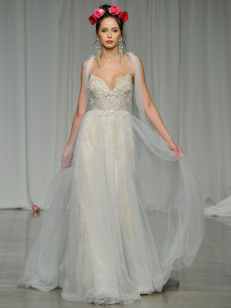 Julie Vino Spring 2019 A-line embroidered wedding dress with sheer tulle overlay