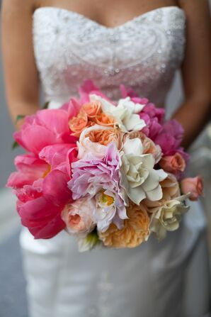 Fun Pink, White and Orange Bridal Bouquet