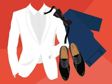 illustrated graphic of white tux with blue pants and shoes