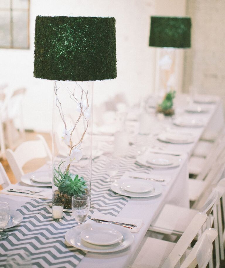 Succulent centerpieces with moss lamp topper