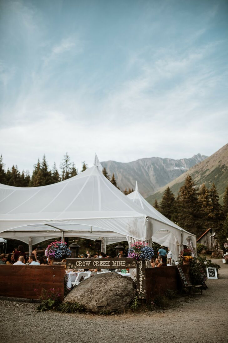 Rustic Tented Reception at Crow Creek Mine in Girdwood, Alaska