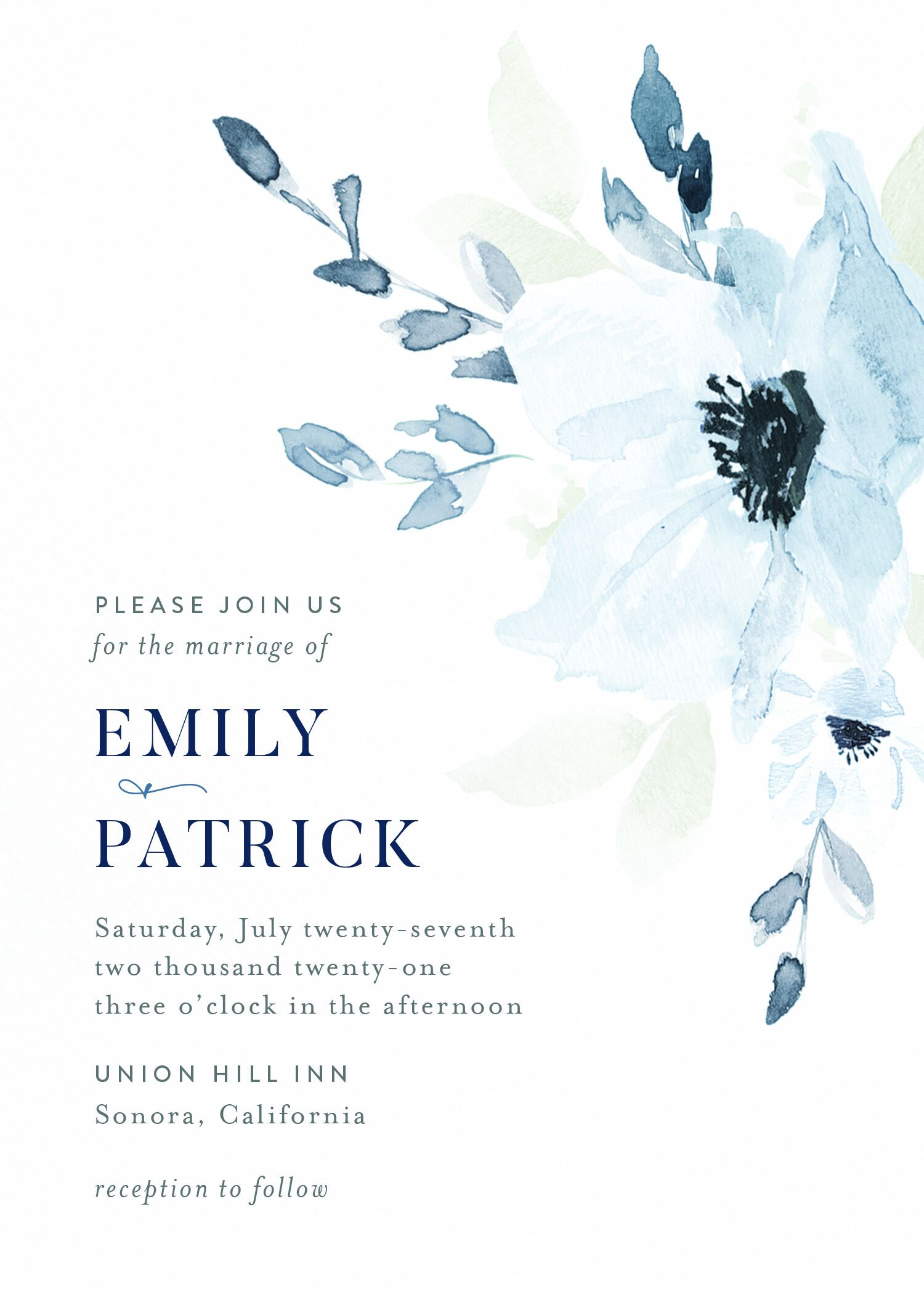 Customizable wedding invitation featuring oversized, soft blue florals to the right and wedding info in modern fonts to the left.