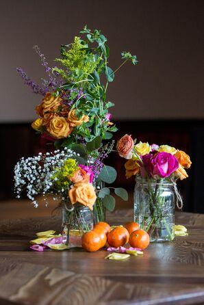 Peach Rose and Wildflower Mason Jar Centerpieces