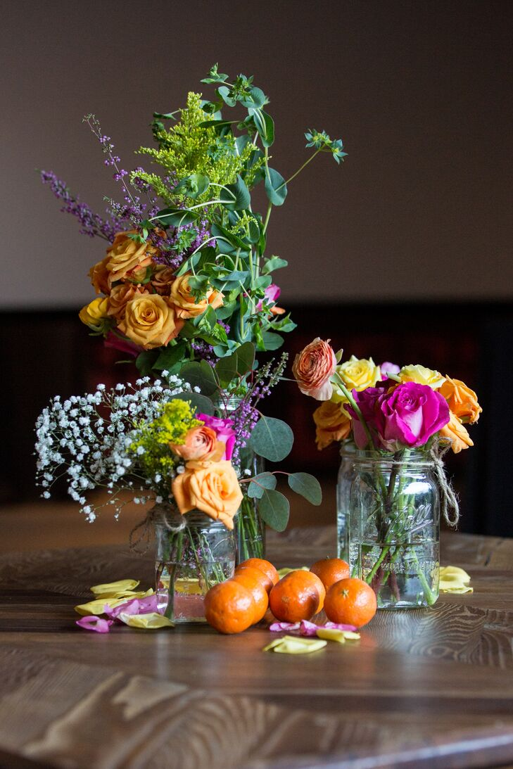 Peach Rose and Wildflower Mason Jar Centerpieces
