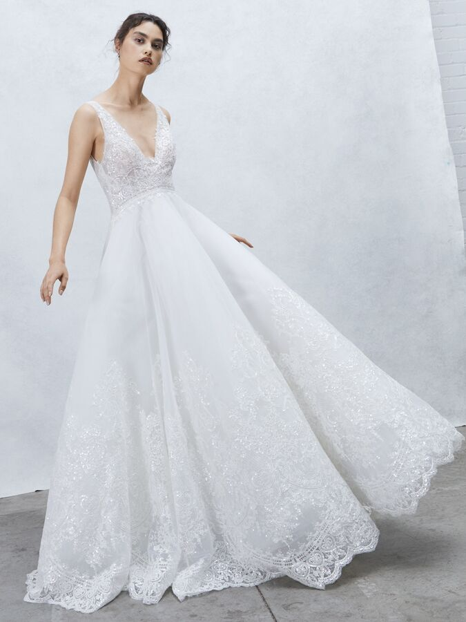 Alyne Collection embroidered lace ball gown with V-neck