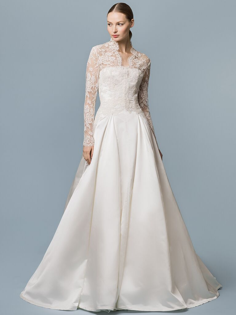 EDEM Demi Couture A-line dress with lace long sleeves and sheer V-neck overlay
