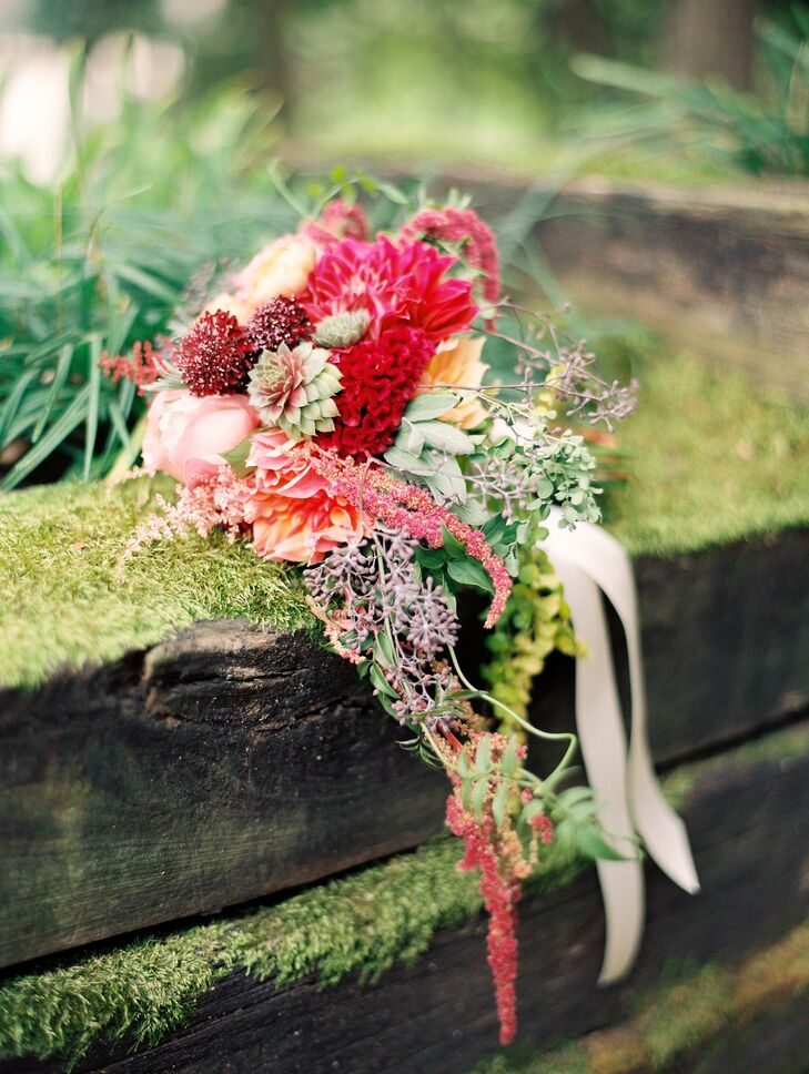 Pink Coxcomb, Dahlia and Scabiosa Bouquet