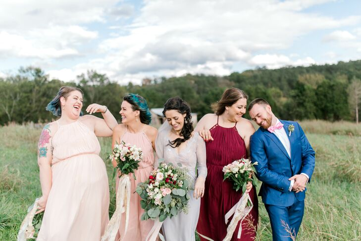 Bride with Wedding Party in Mismatched Attire