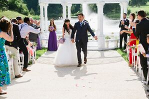 Excited Groom at Waterfront Recessional