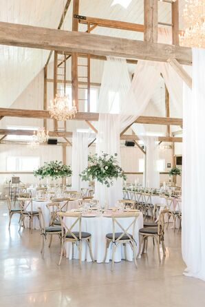 Romantic Barn Reception with Wood Beams and Draping