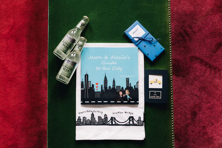 "Alexia and Jason went all out to welcome their guests to the Big Apple. They created and printed their own city guide and included it alongside Fever Tree Ginger Beer, Brooklyn chocolate bars and Fishs Eddy kitchen items. Everything was packaged in custom canvas bags bearing a carton pigeon motif and the wedding date. ""We even leaked an unpublished manuscript to our guests a few weeks ahead of their arrival so they could see some of the know-before-you-go part, with a cover letter from our dogs, Todd, Winnie and Henry, explaining they were leaking it because they were upset that they weren't invited to the wedding after all they had done for us,"" Alexia says."