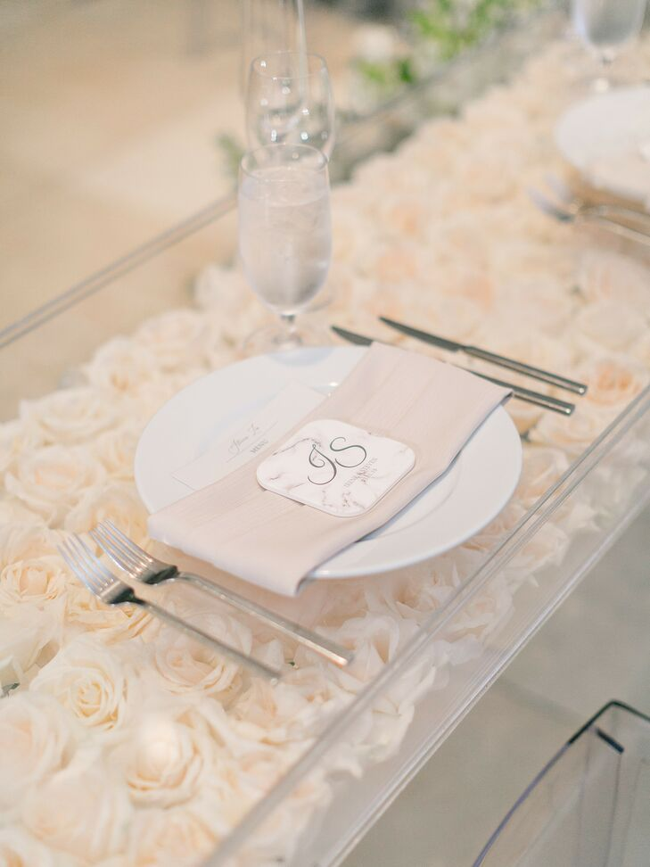 Acrylic Table Filled with Roses for Wedding at Segerstrom Center for the Arts in Costa Mesa, California