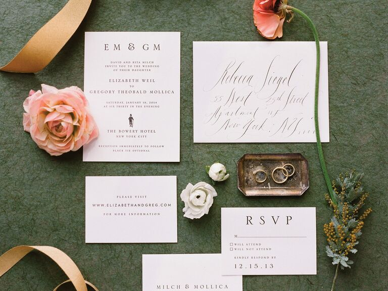Top 10 wedding invitation etiquette questions classic invitation suite with calligraphed envelopes stopboris Gallery