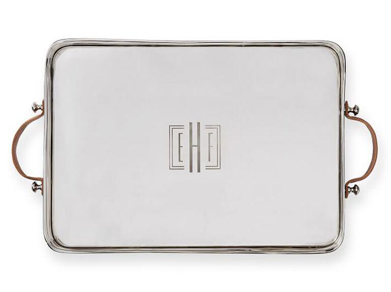Monogram silver tray 25th anniversary gift