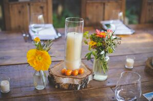 Bright Poppy, Pillar Candle and Fresh Fruit Centerpieces