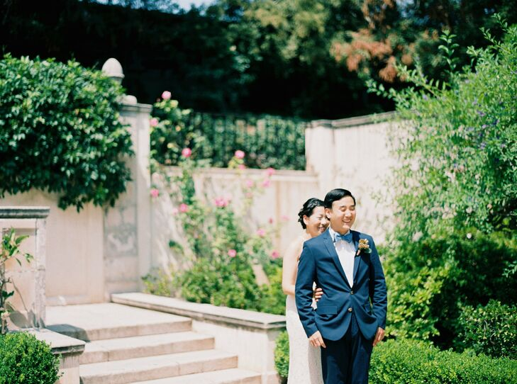 The manicured rose garden at Westmont College in Santa Barbara, California, served as the backdrop for Alison and Daniel's romantic day.