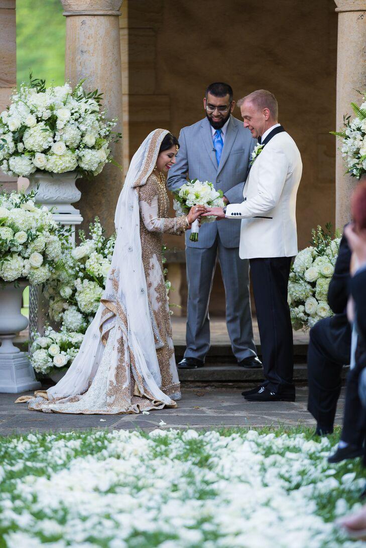 White and Gold Pakistani Wedding Dress