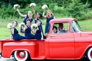 Navy Bridesmaid Dresses with White Bouquets