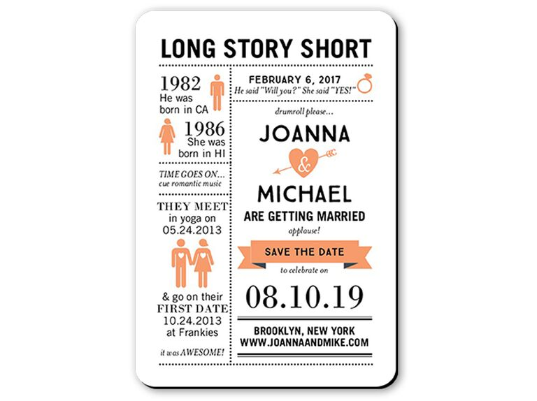 East Six Long Story Short save-the-date cards