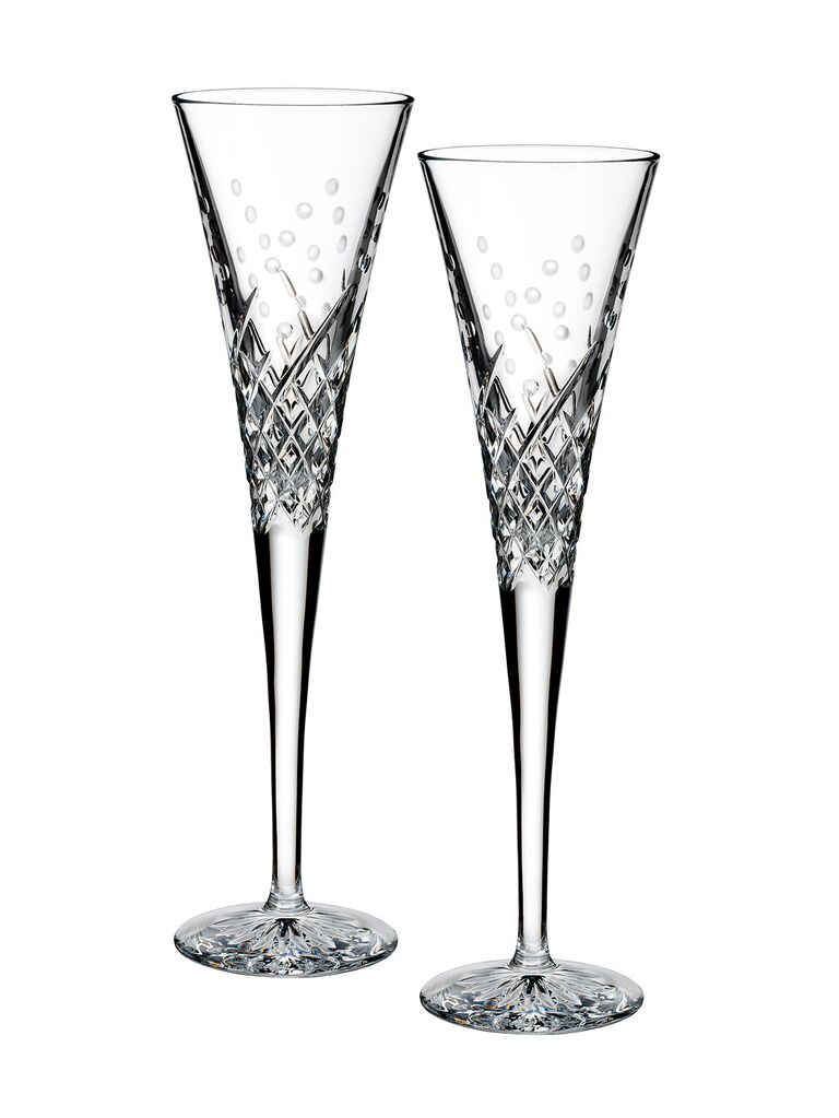 Set of matching crystal champagne glasses 35th anniversary gift