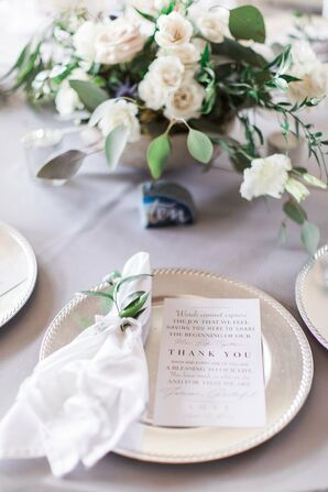 Classic Menu on Silver Charger with Herb Place Setting