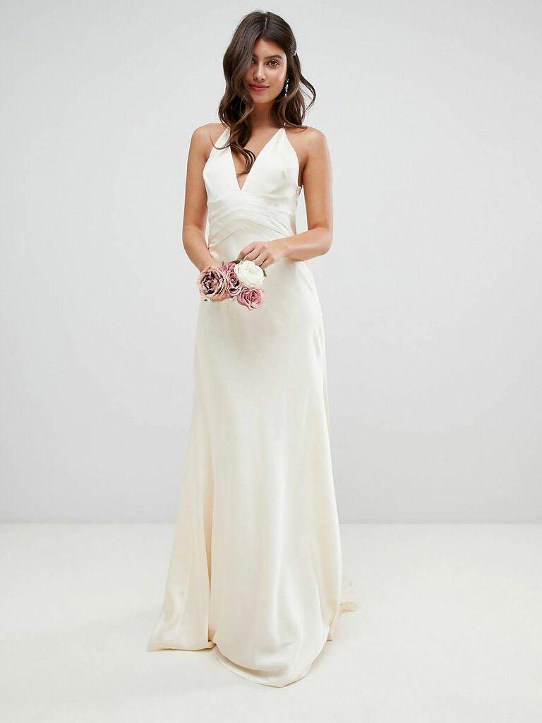 Silky V-neck second marriage wedding dress