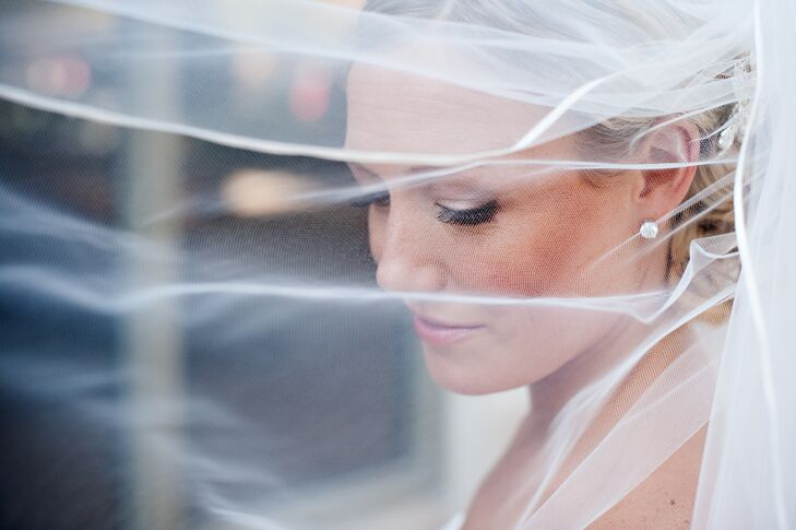 Close-Up on Bride with Wind-Blown Veil