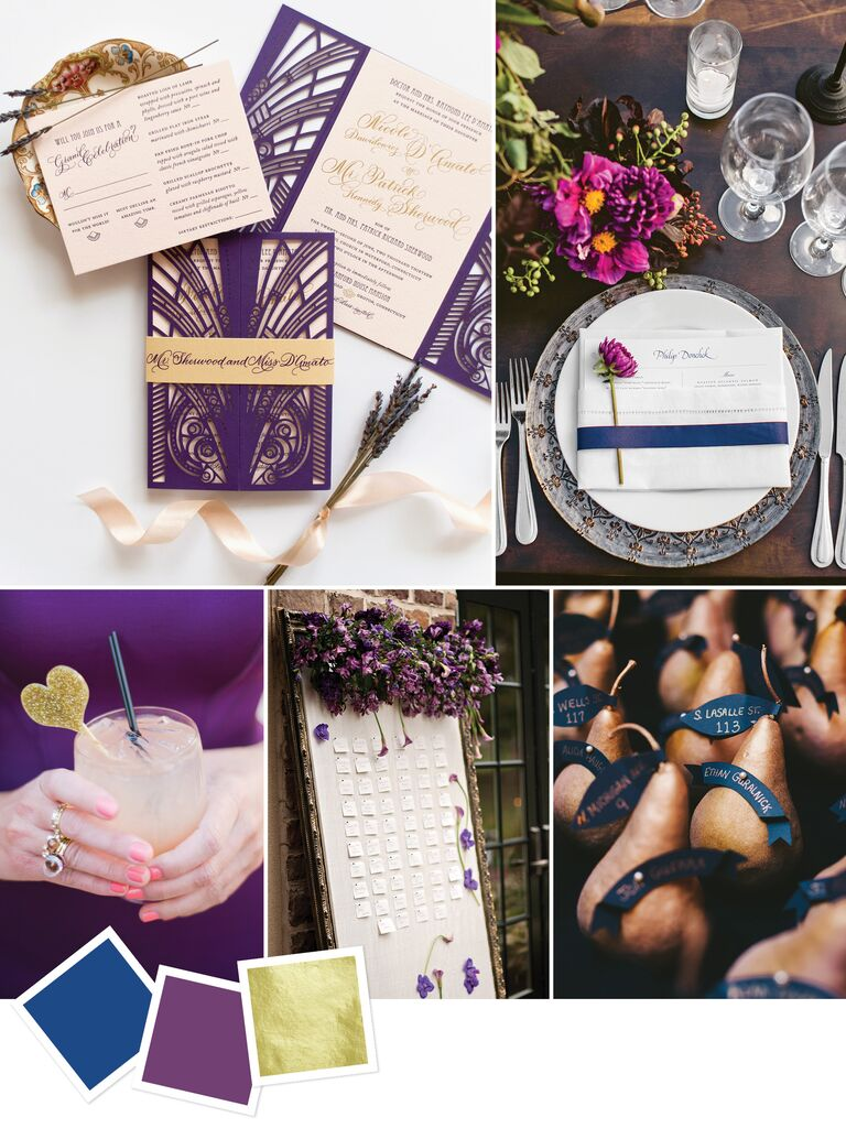 moody color palette for an art deco wedding theme